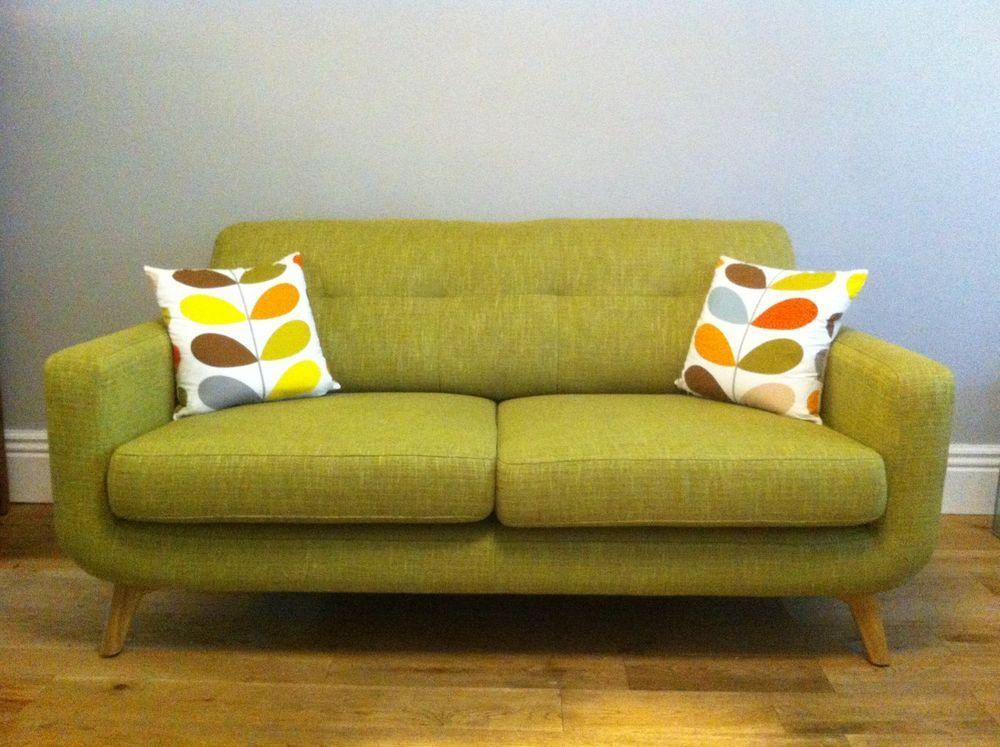 John Lewis Barbican Medium Sofa Henley Olive with light wooden legs ...