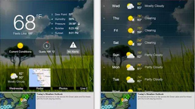WeatherBug Android apps, Desktop screenshot, App