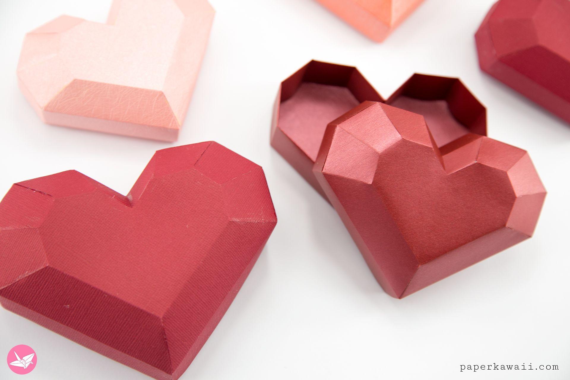 Paper Heart Box Tutorial Paper Kawaii In 2020 Heart Gift Box Paper Heart Heart Box Template