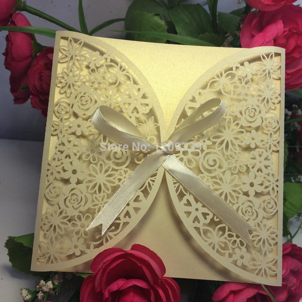 100pcs/lot Wedding supplies pearl paper laser cut with ribbon ...
