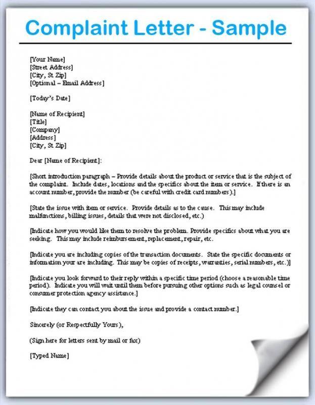 Complaint Letters Samples | template | Pinterest | Letter sample ...