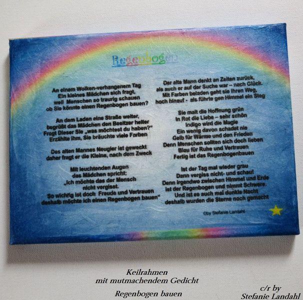 Keilrahmen Mutmach-Gedicht Regenbogen bauen | Regenbogen
