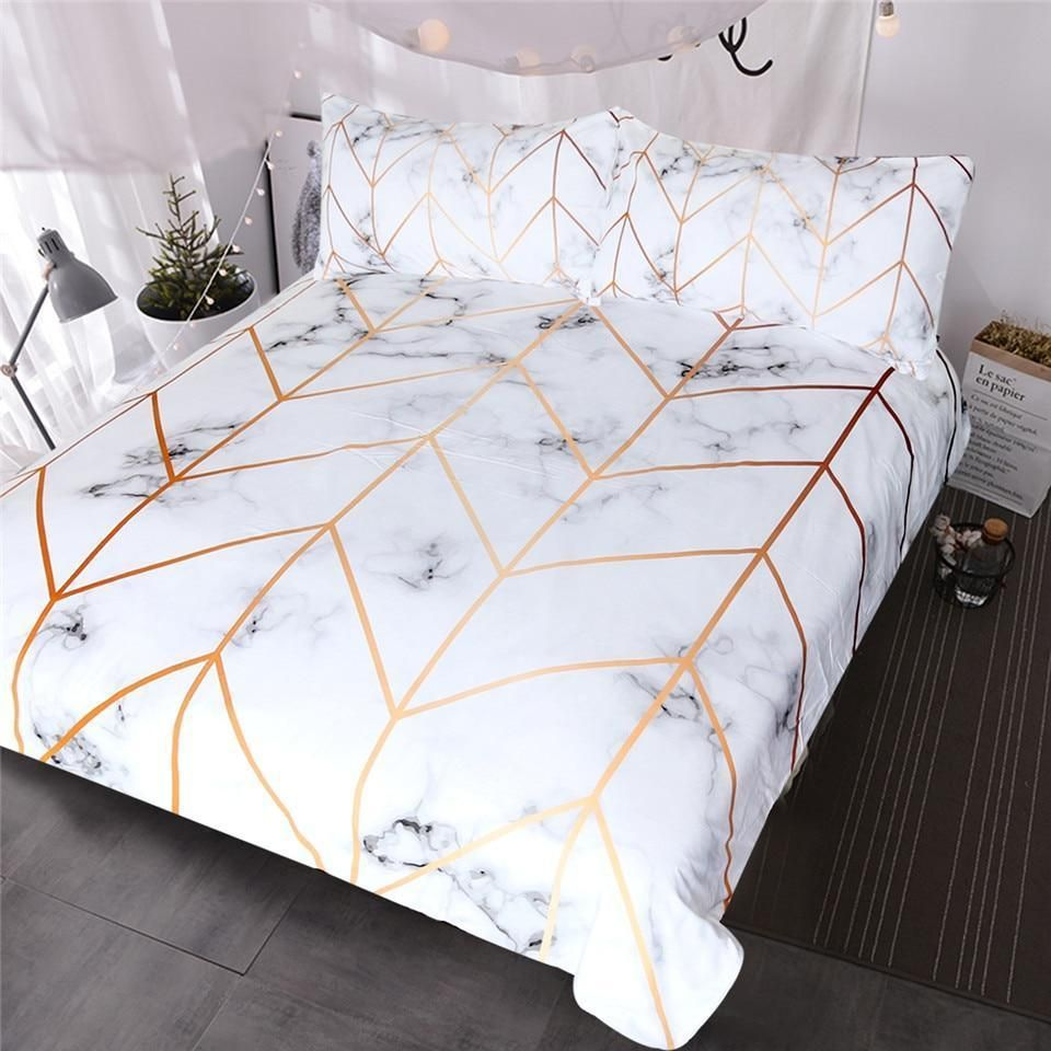 White And Rose Gold Marble Bedding Set In 2020 Marble Bed Set Marble Bedding Textured Bedding