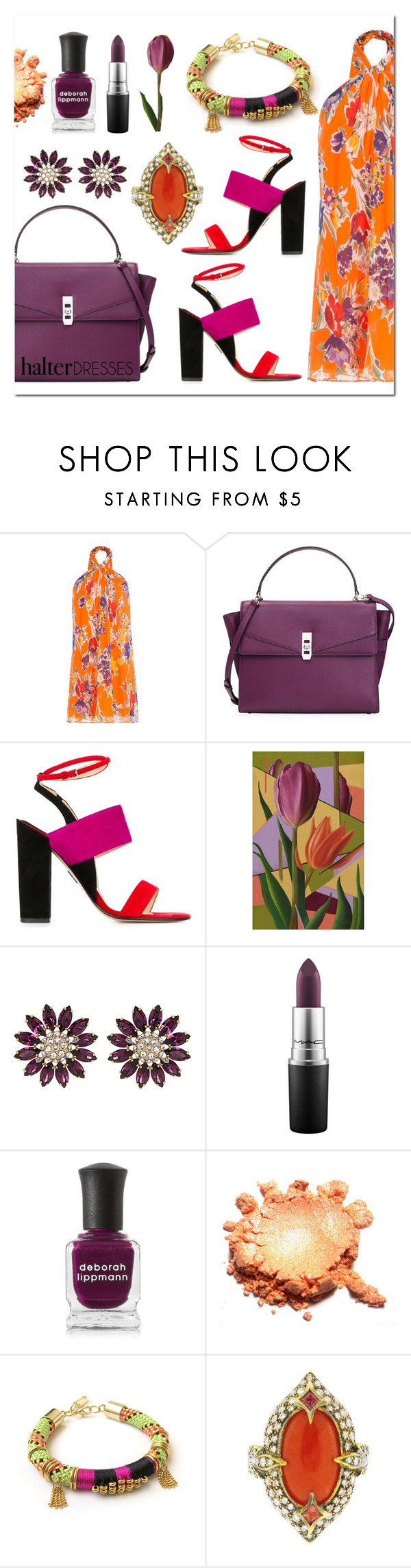 """Colourful"" by deaniefrank ❤ liked on Polyvore featuring Polo Ralph Lauren, Henri Bendel, Paul Andrew, NOVICA, Miu Miu, MAC Cosmetics, Deborah Lippmann, Celine H2o, Cathy Waterman and halterdresses"