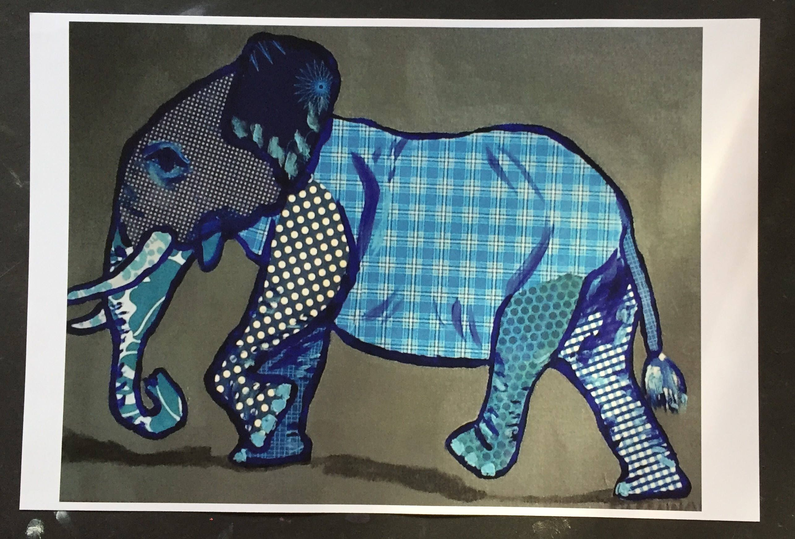 9eeb93da1 Excited to share this item from my  etsy shop  Blue Elephant Marching  Digital Print From Original Painting