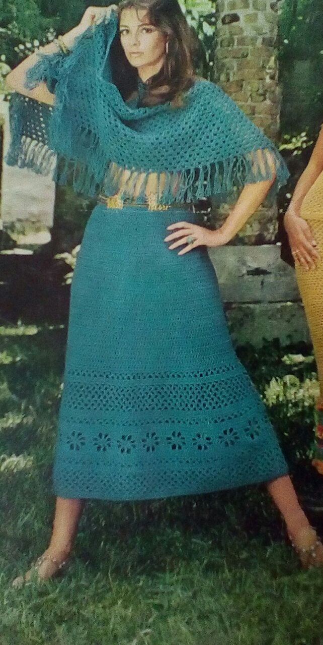 Vintage Crocheted Skirt with Fringed Shawl Pattern by MAMASPATTERNS on Etsy