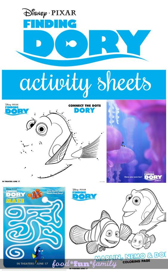 Finding Dory Coloring Pages and Activity Sheets Finding dory and - new pixar coloring pages finding nemo
