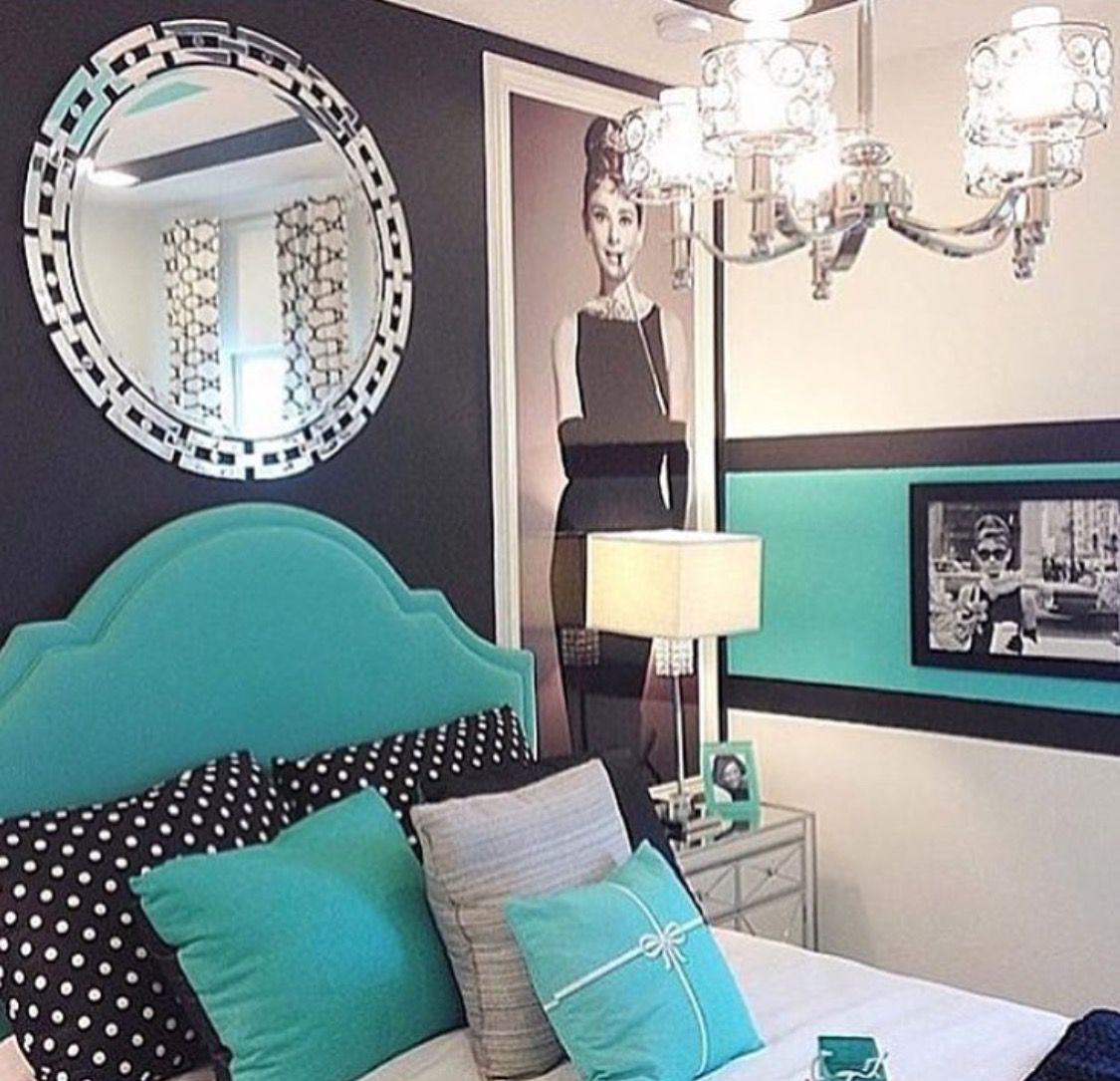 Turquoise black bedroom baby girl nursery bedrooms for Black and turquoise bedroom ideas
