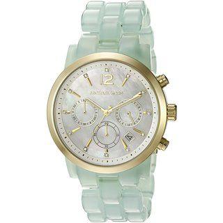 2fcd71219e90 Michael Kors Women s MK6311 Audrina Chronograph Mother Of Pearl Dial Green Acetate  Bracelet Watch