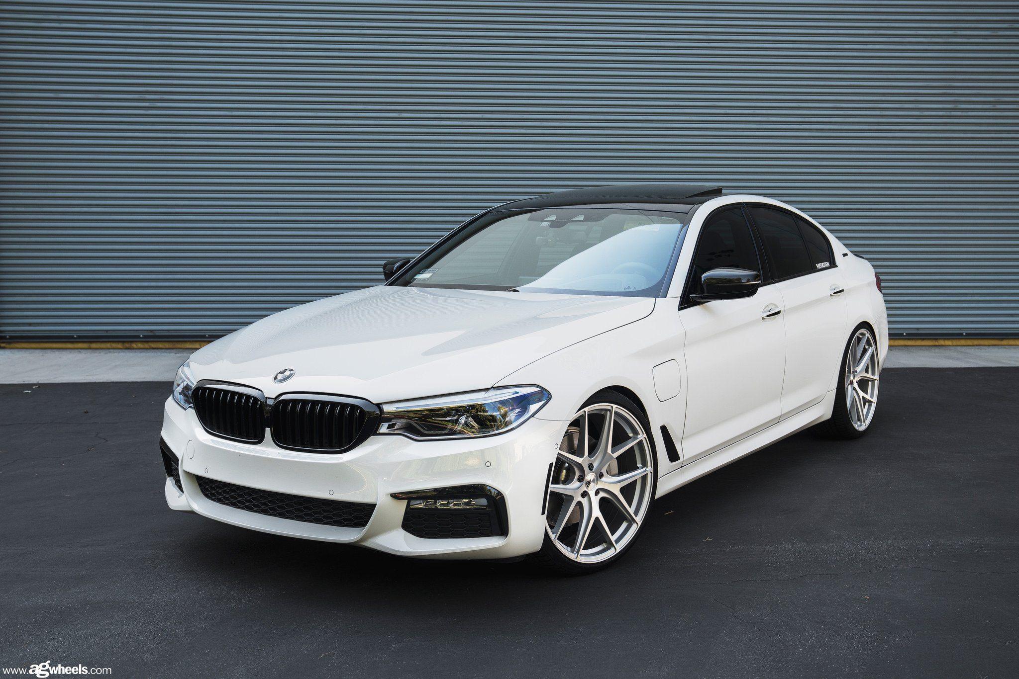 Beautiful White Bmw 5 Series Sporting Chrome Avant Garde Wheels