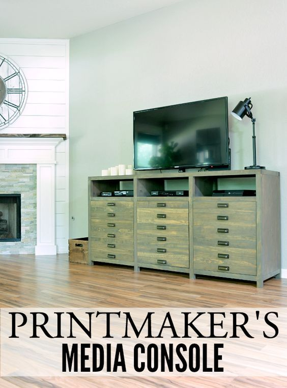 Printmaker's Media Console   LITTLE RED BRICK HOUSE