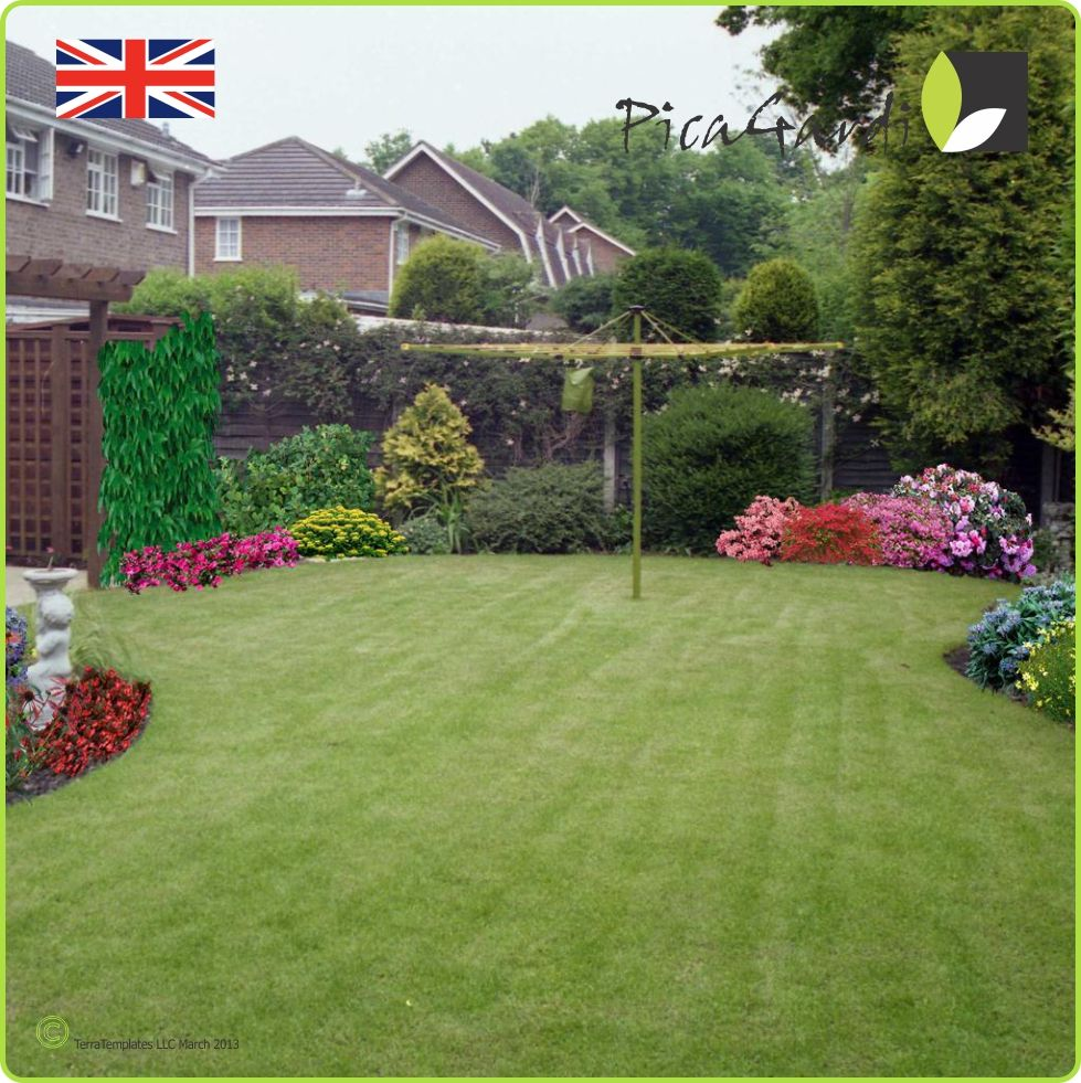 A typical English suburban garden, complete with spinning ...
