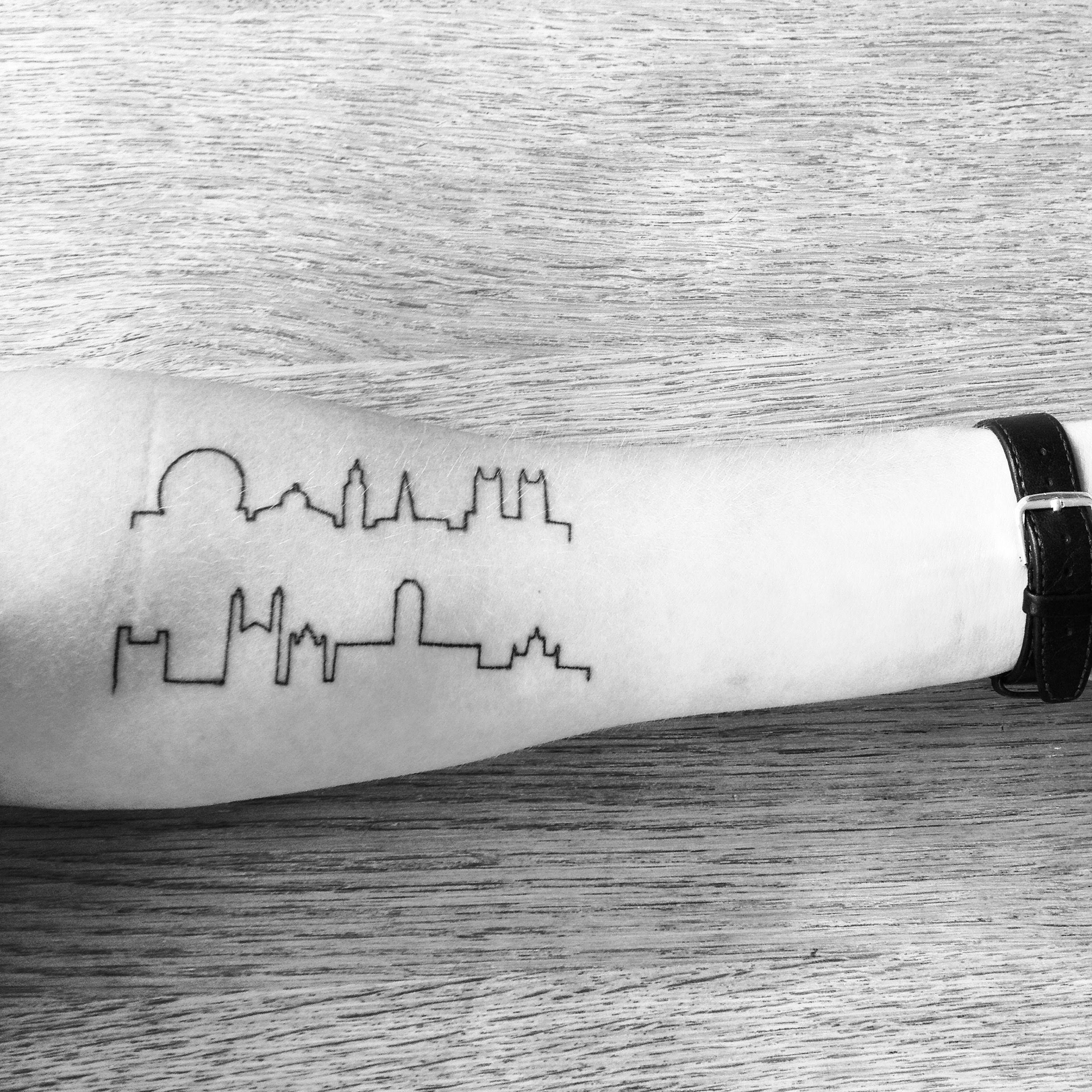 My #minimalist #skyline #tattoo Of #Cambridge & #London