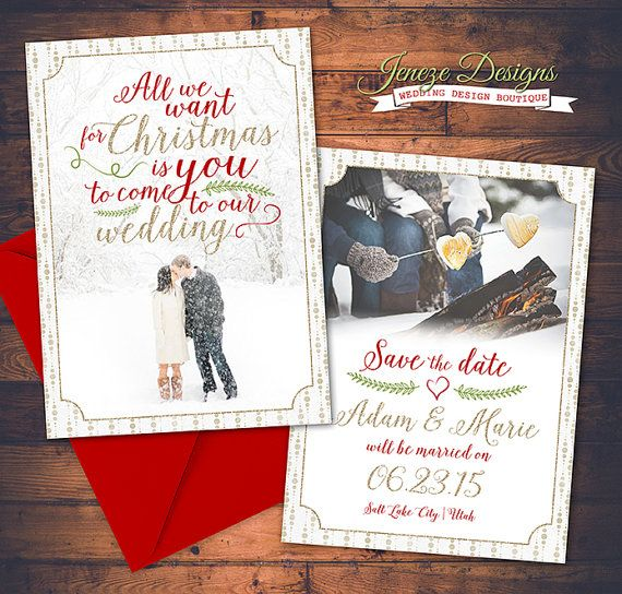 Christmas Save The Date Cards.Pin On Jeneze Designs Wedding Invitations