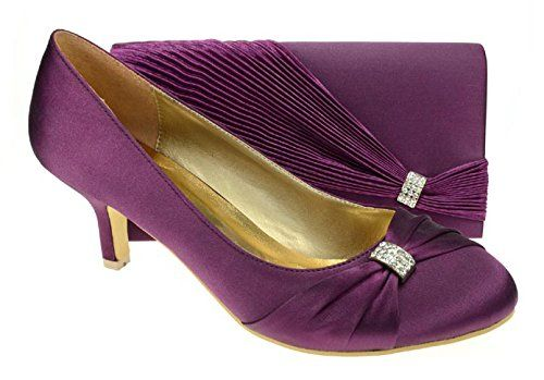 Chic Feet Womens Purple Party Wedding Prom Evening Shoes Matching Bag Uk 3