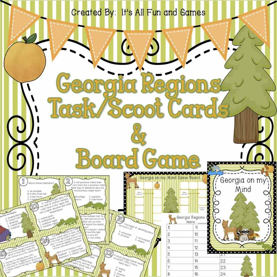 Georgia Regions Habitats Task Scoot Cards Game Board Georgia Regions Board Games Card Games [ 900 x 900 Pixel ]