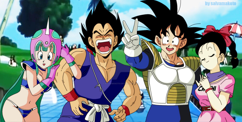 Fiesta De Disfraces Dbz By Salvamakoto On Deviantart Vegeta Goku Bulma Chichi Swap