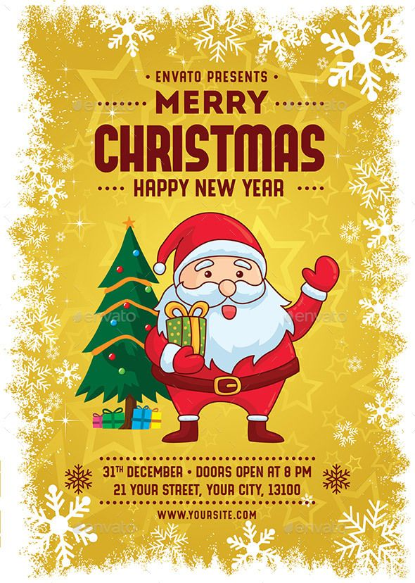 Merry Christmas Happy New Year Flyer Template Vector Eps Ai