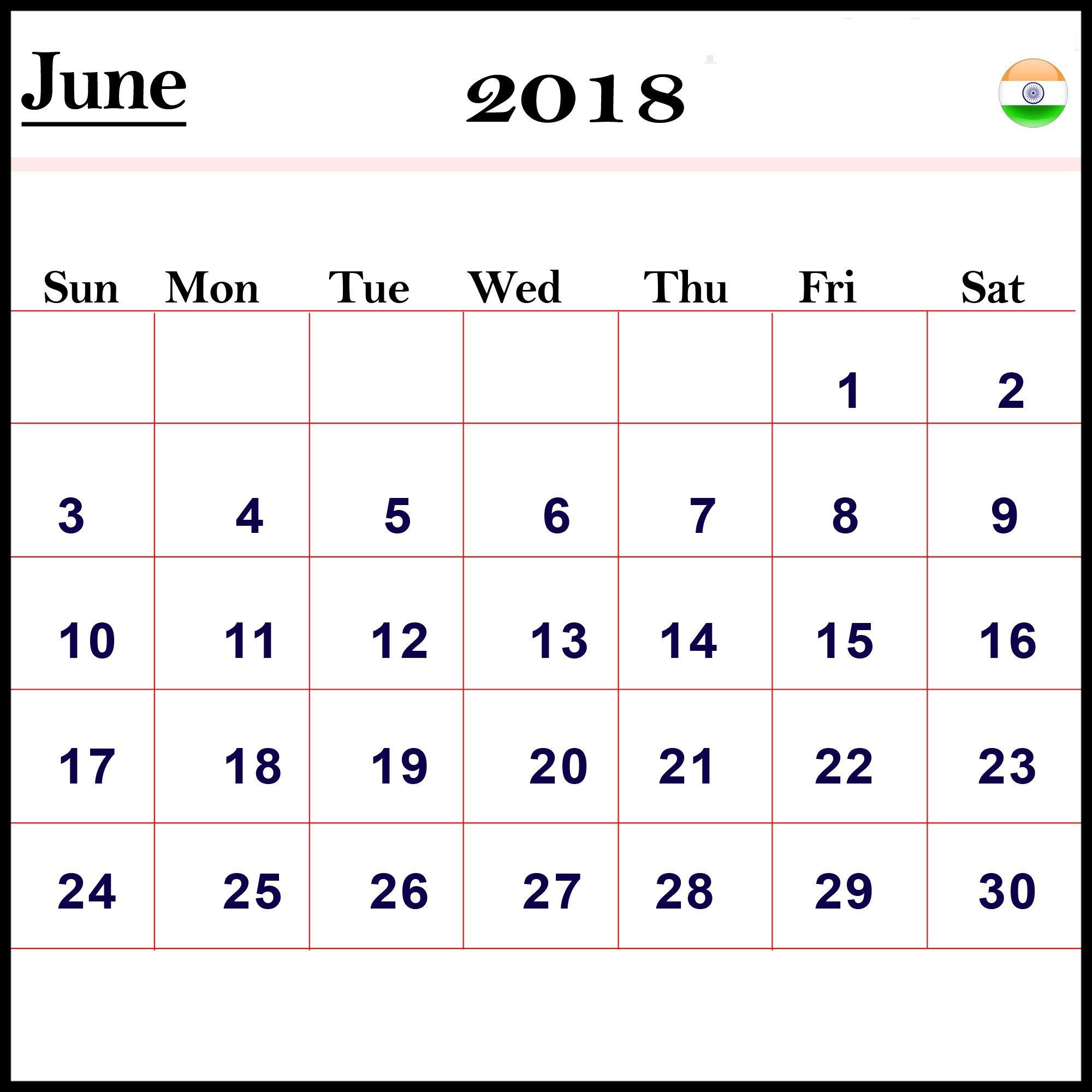 Cute June 2018 Calendar India Calendar Words June