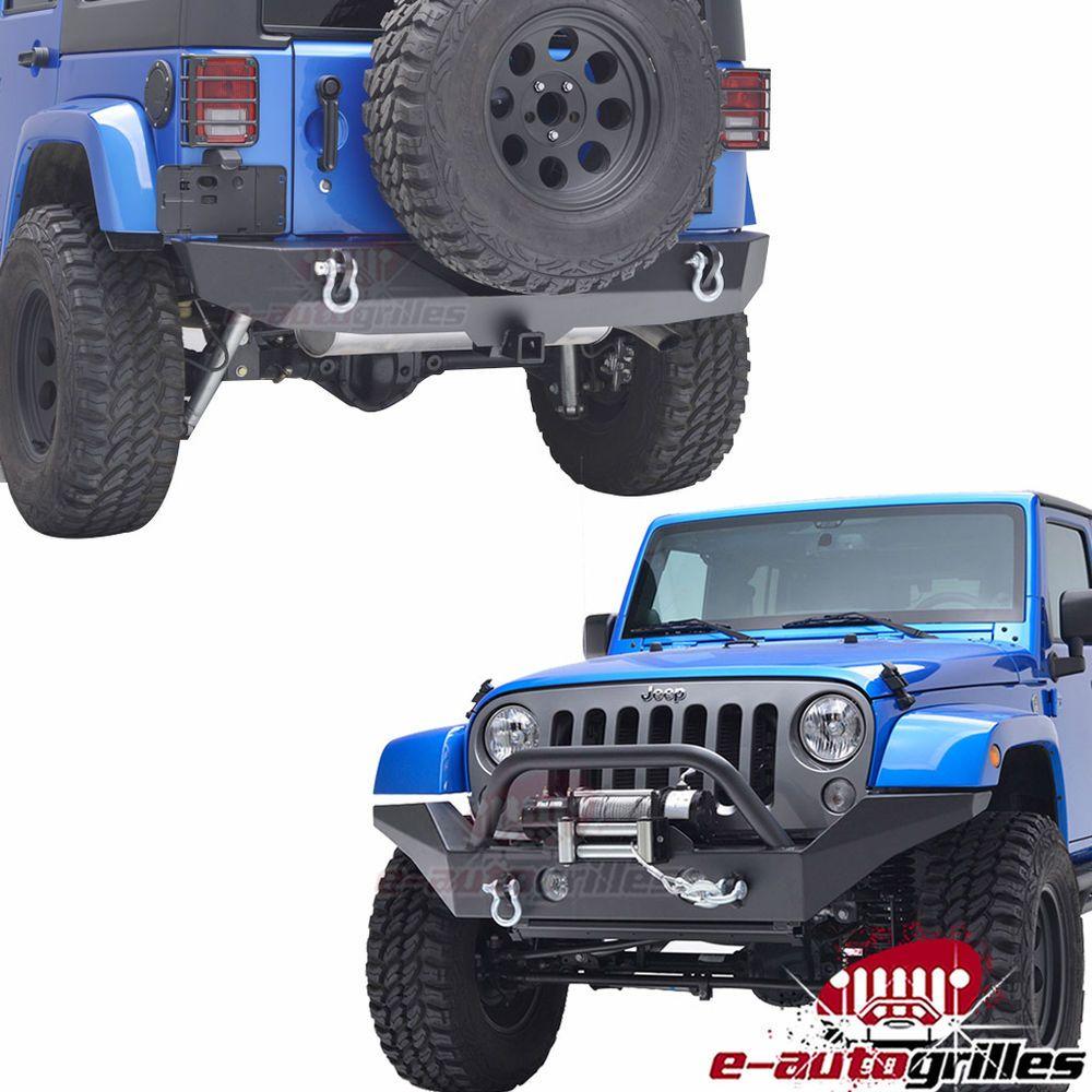 07-17 Jeep JK Wrangler Full Width Front Bumper+Rear Bumper W/2 ...