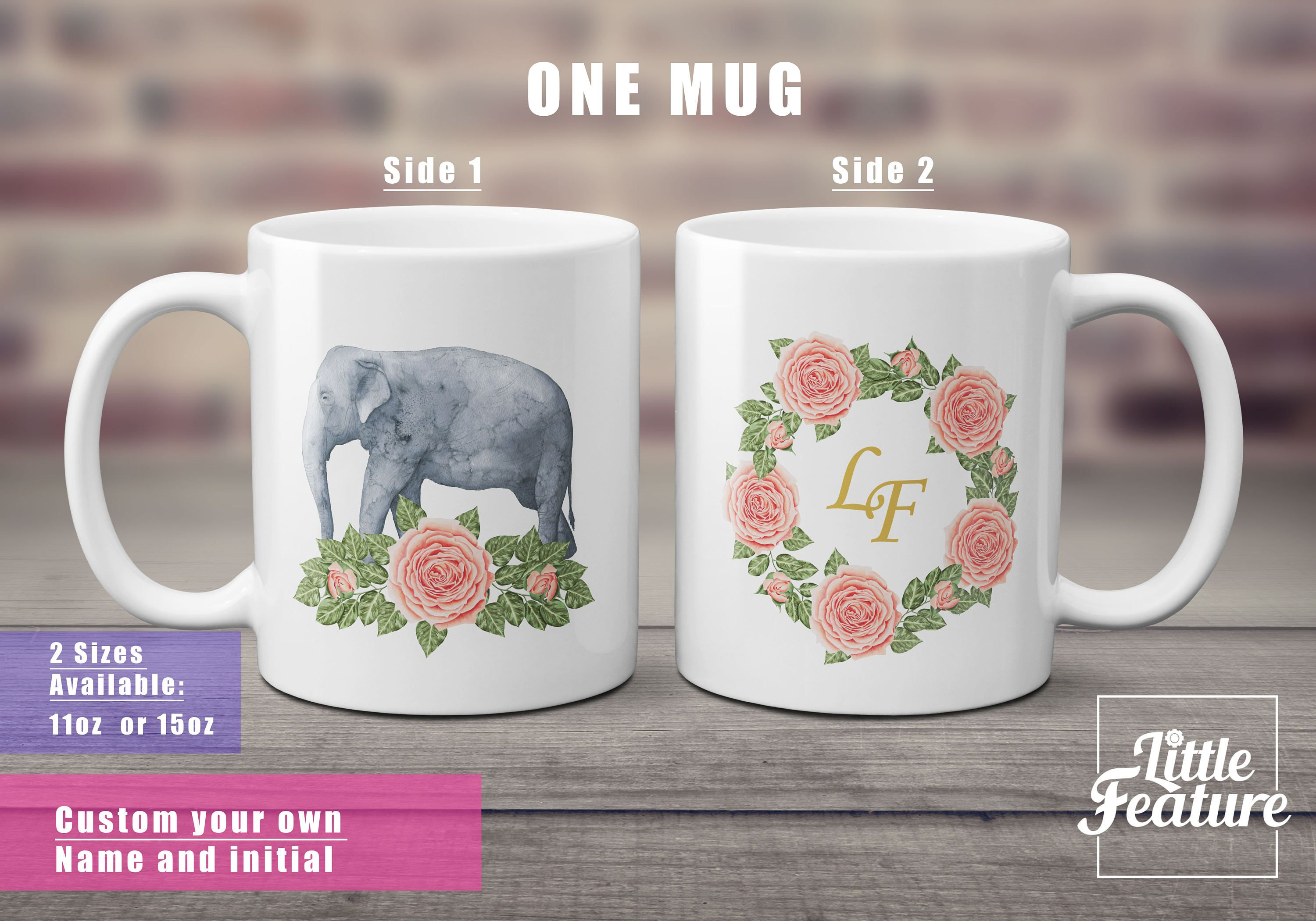 Elephant Lover Gift Custom Inital Mugs Coffee Personalized Name Funny