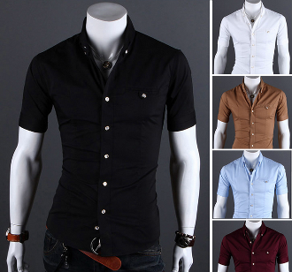 Men's Short Sleeve Button Shirt with Vertical Strip | Pinterest ...