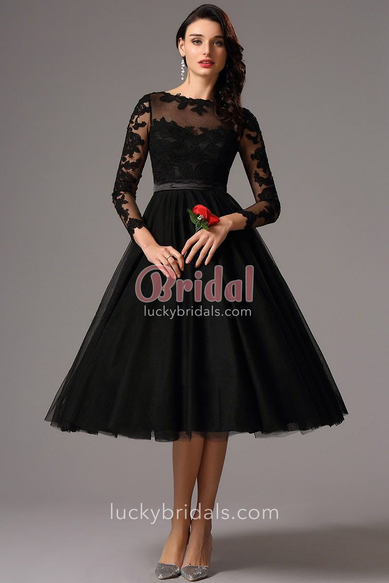 cd8a35dbb01a This elegant long sleeve tea-length cocktail dress comes in black, also  suitable for evening parties! Floral lace appliqued on the top and sheer  fabrics ...