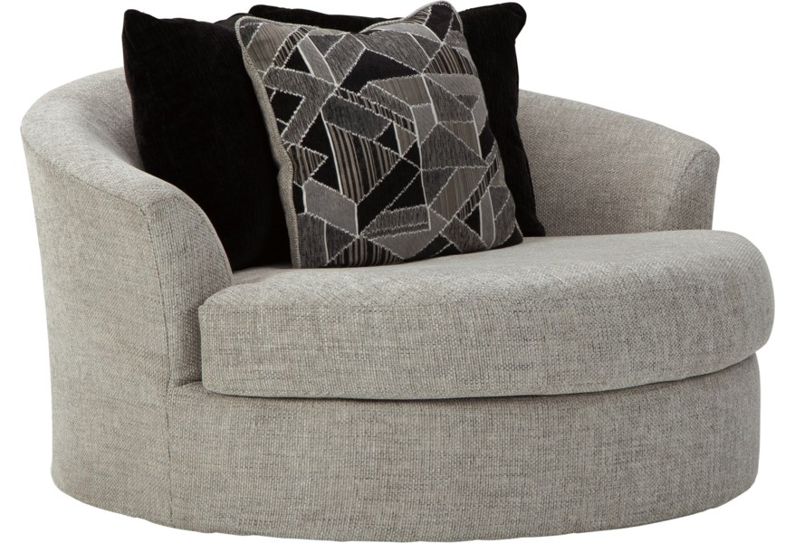 Megginson Contemporary Oversized Round Swivel Chair By Benchcraft At Walker S Furniture In 2021 Round Swivel Chair Chair Oversized Chair