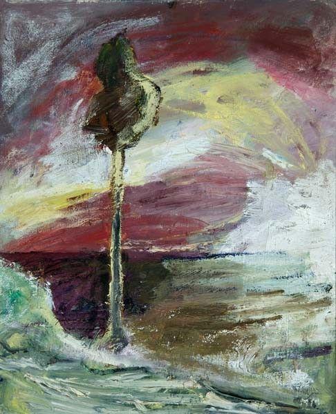 Mauno Markkula: Auringonnousu, öljy levylle, 46x38 cm - Hagelstam K125