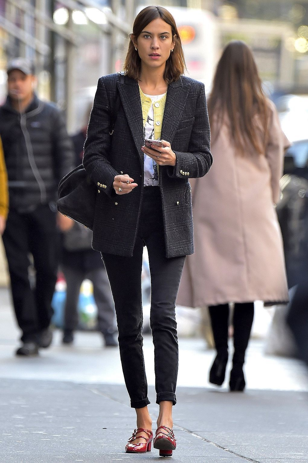 Out and about in Soho, the perennially cool Alexa lived up to her title in black skinnies, a double-breasted blazer and red Mary Janes.