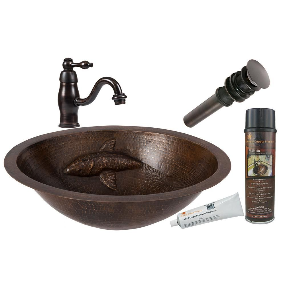 All In One Oval Copper Bathroom Sink With One Large Koi Fish