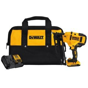 Dewalt 20 Volt Max 16 Gauge Cordless Angled Finish Nailer Kit Dcn660d1 The Home Depot In 2020 Finish Nailer Dewalt Nailer