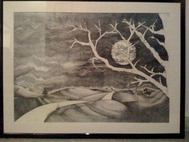 Paesaggio a matita / 100x70 in cornice laccata nero lucida- la stanza di Gio
