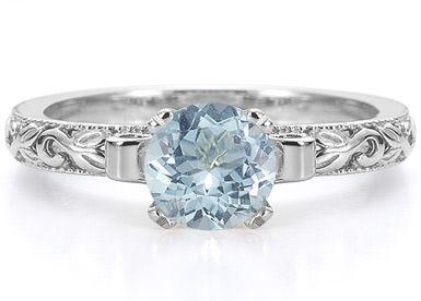 applesofgold.com - 1 Carat Art Deco Aquamarine Engagement Ring, 14K White Gold