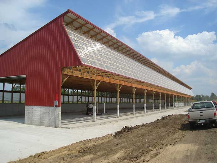 Monoslope cattle barns cattle barn plans and designs for Farm shed ideas