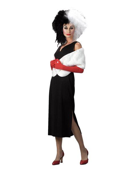 Cruella De Ville Dog Lady 101 Dalmatian Wig Gloves Fancy Dress Costume LOT
