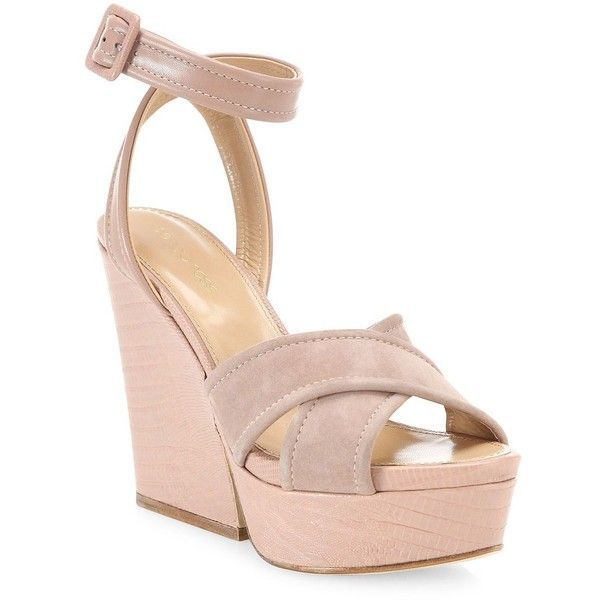 36f12ed41d3 Sergio Rossi Hannelore Suede & Leather Wedge Sandals (€335) ❤ liked ...