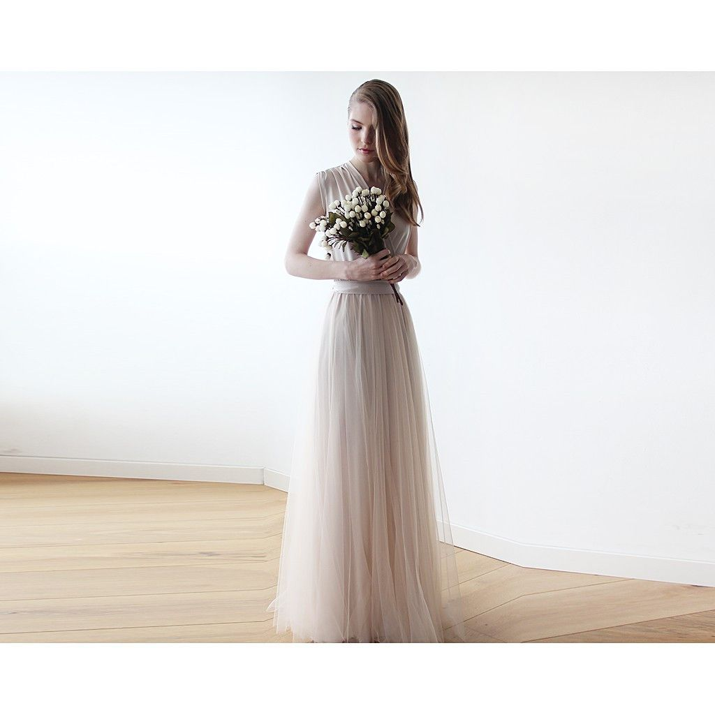 The perfect understated feminine bridesmaid dress champagne maxi