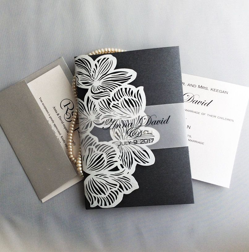 v50 personalized white orchid flower laser cut tri pocket folding w