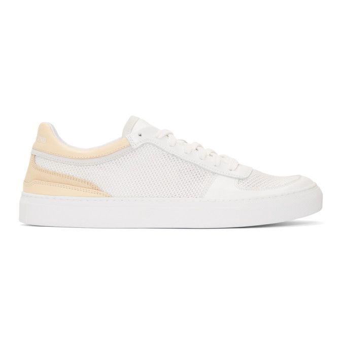 White and Pink Mesh and Leather Sneakers Stone Island KZSDxA