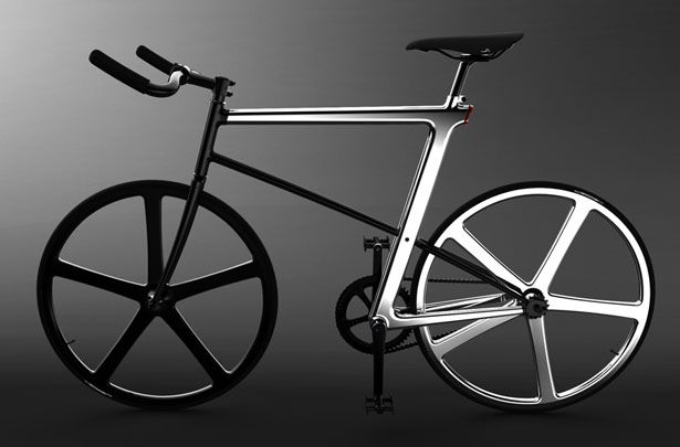 A sleek bicycle concept with polished Z-shaped frame, called Z-FIXIE ...