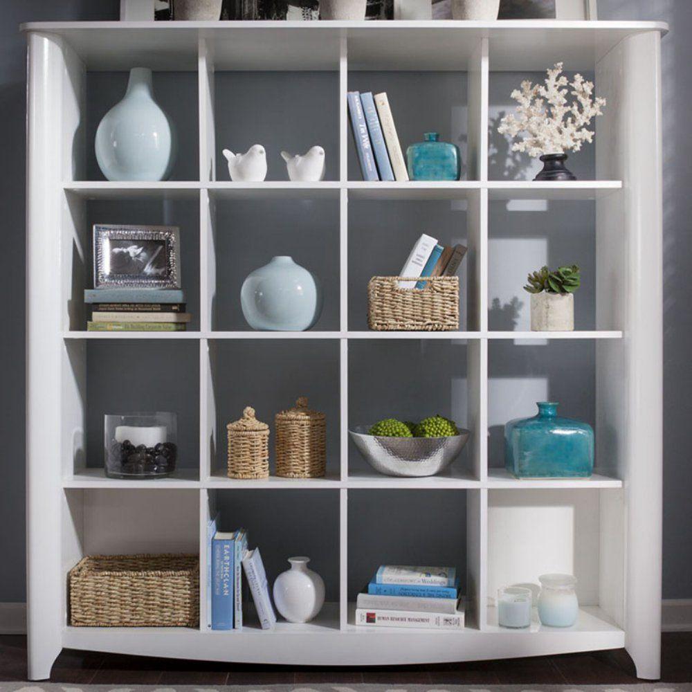 Bush Aero Collection 16 Cube Bookcase Room Divider Pure White Bookcases At Hayneedle