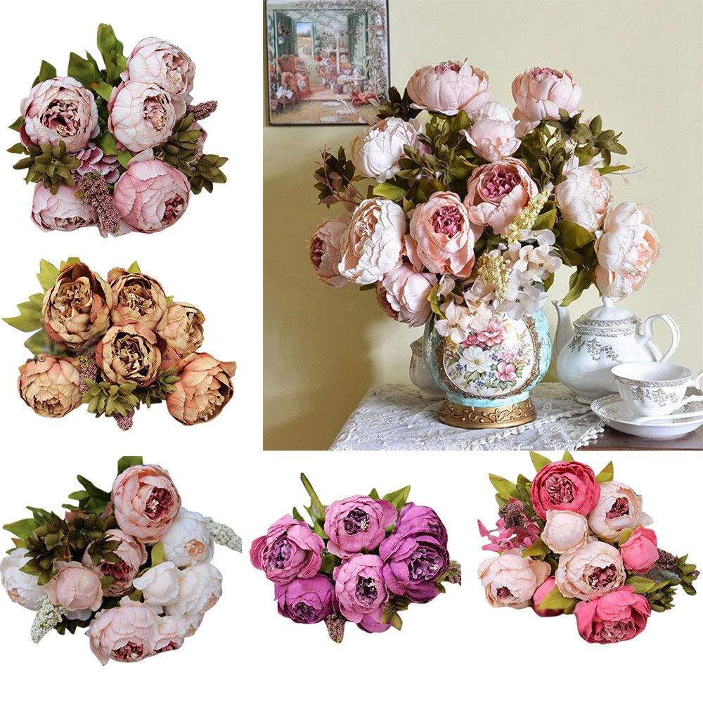 Fashion Heaven 1bouquet 8 Heads Artificial Peony Silk Flower Leaf