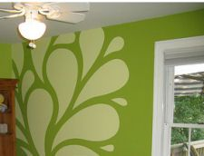 Green Wall Paint lime green wall paint color white decals stickers decor | design