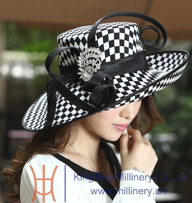 Women Hats for Church Winter Satin Dress Hat Millinery Chapeau Formal Hat  for Women Satin Ribbon 943c54540e6b