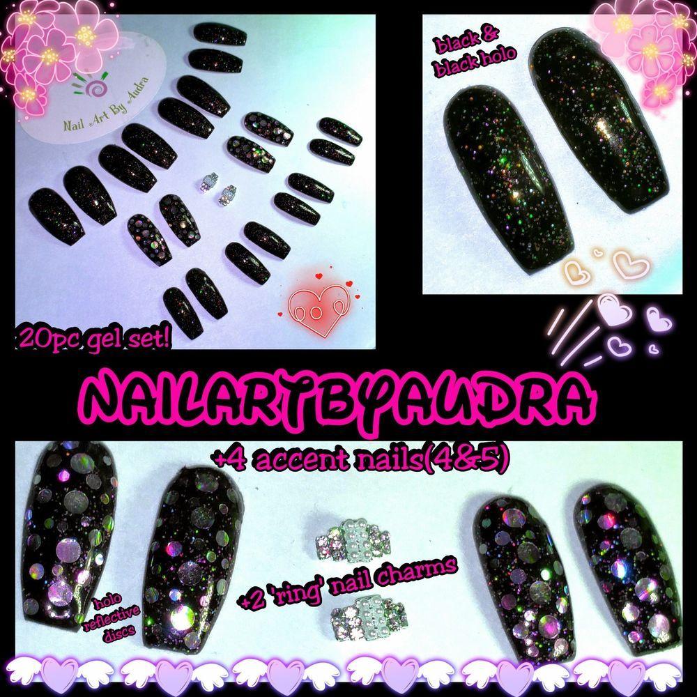 20pc UV GEL NAILS - Black HOLO Galaxy Set + 2 \'ring\' charms -TIP ...
