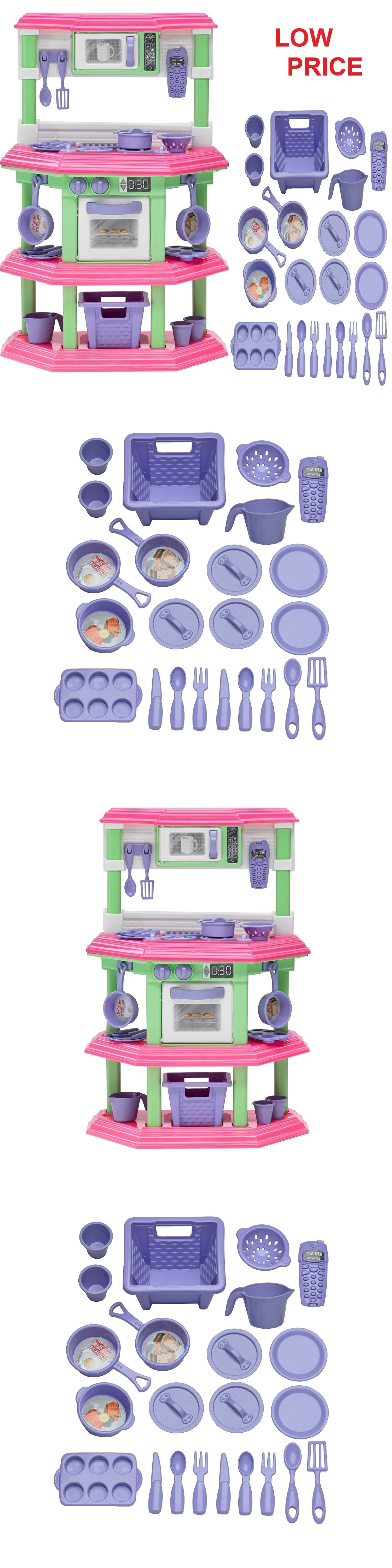 Toys for kids kitchen set  Kitchens  Pretend Kitchen Play Set For Kids Cooking Food Toy