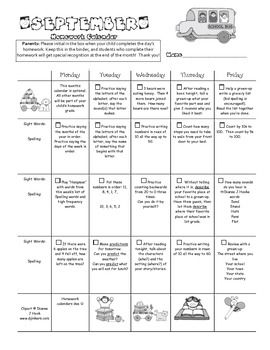 St Grade  Homework Calendars For SeptemberJuly C  First