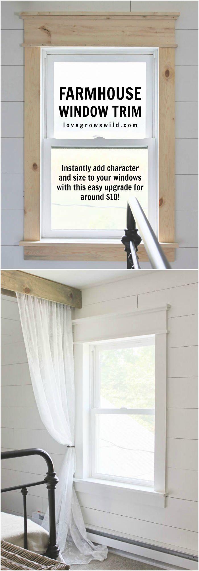 Window cover up ideas  farmhouse window trim  new home ideas  pinterest  casas hogar