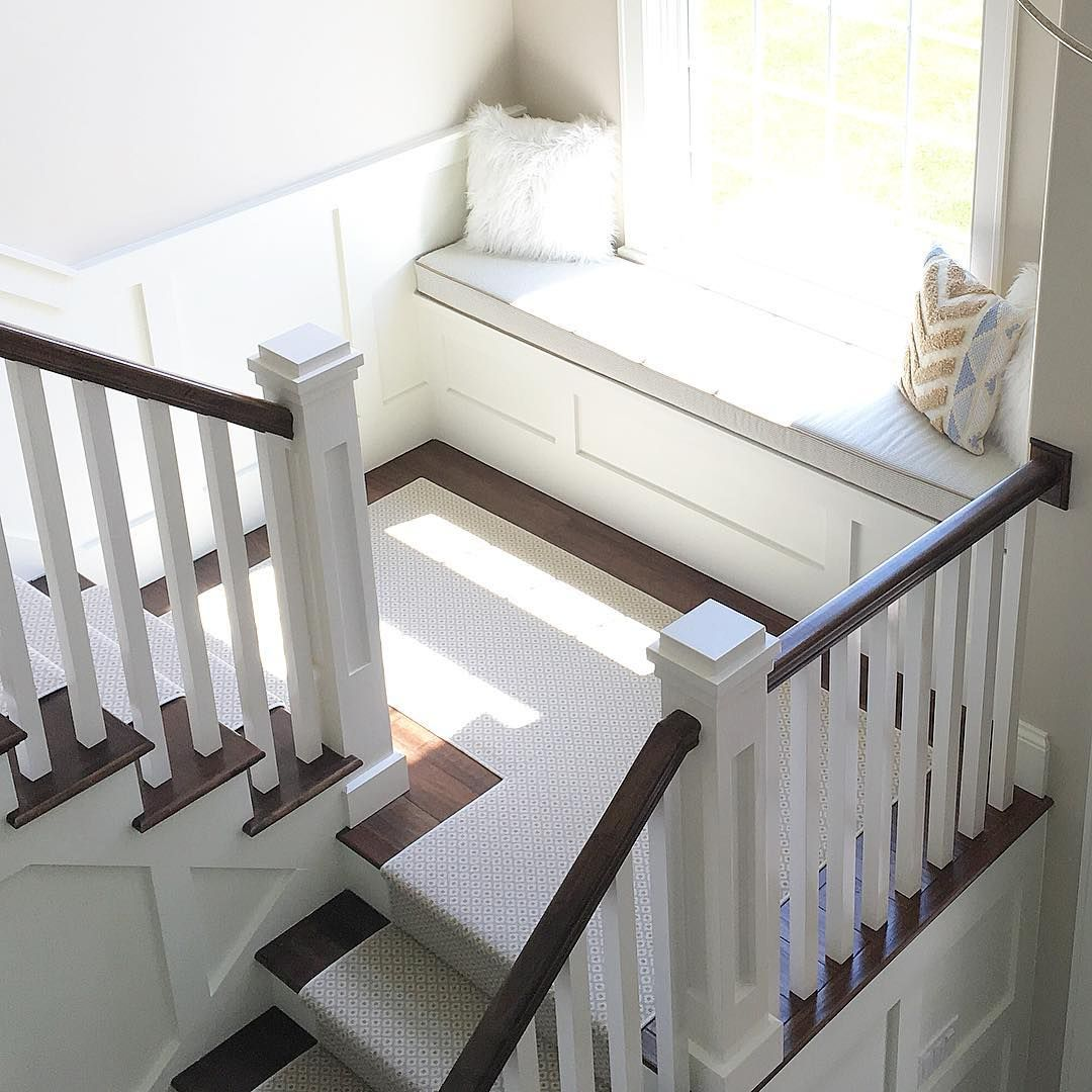 Staircase Design Ideas Remodels Photos: Window Seat And Stair Runner